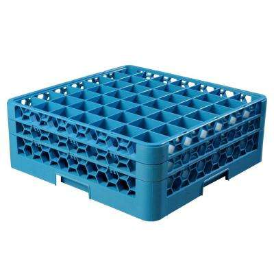 19.75x19.75 in. 49-Compartment 2 Extenders Glass Rack (for Glass 2.13 in. Diameter, 6.34 in. H) in Blue (Case of 3)