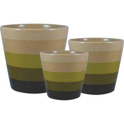 Holiday Gelato 6.5 in. Dia, 5.5 in. Dia and 4.5 in. Dia Gold Ceramic Pot (Set of 3)