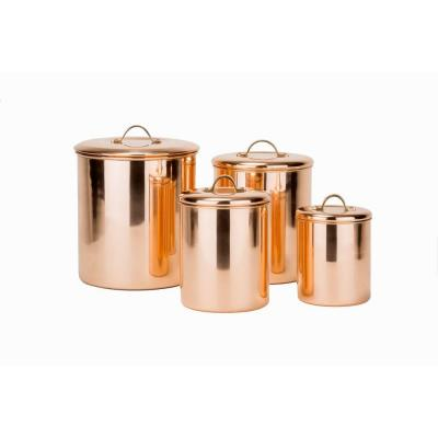 4-Piece Canister Set in Polished Copper with Knobs in Brass
