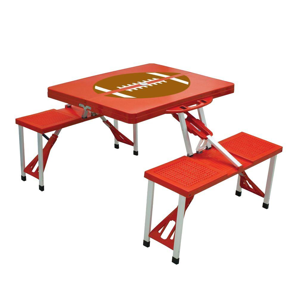 Picnic Time Red Sport Compact Patio Folding Picnic Table with Football Pattern