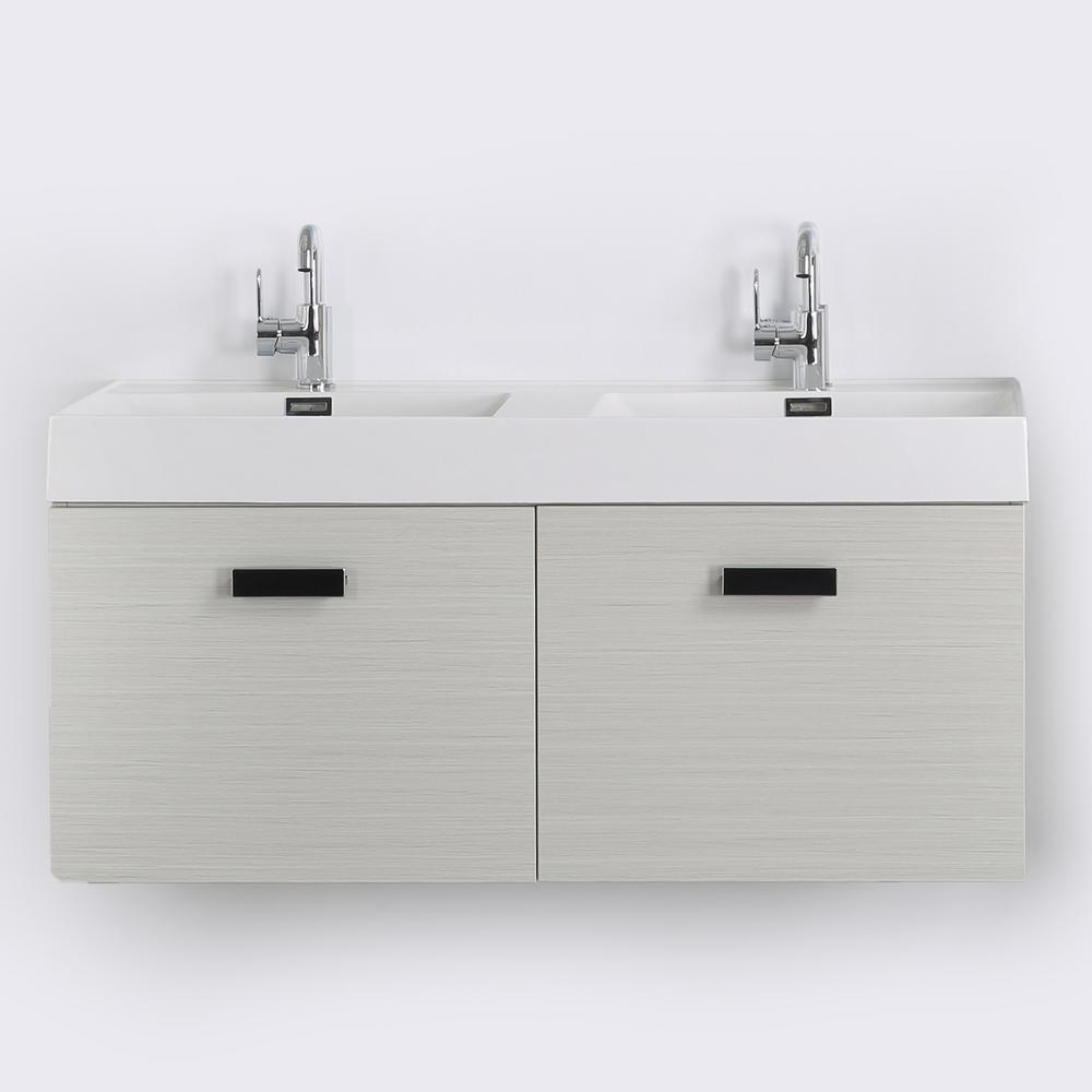 Streamline 47.2 in. W x 18.1 in. H Bath Vanity in Gray with Resin Vanity Top in White with White Basin