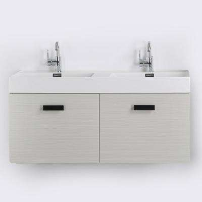 47.2 in. W x 18.1 in. H Bath Vanity in Gray with Resin Vanity Top in White with White Basin