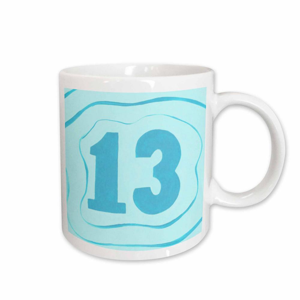 8742c339b3d2 3dRose CherylsArt Numbers Number thirteen 13 in Blue with Blue Ripples 11  oz. White Ceramic