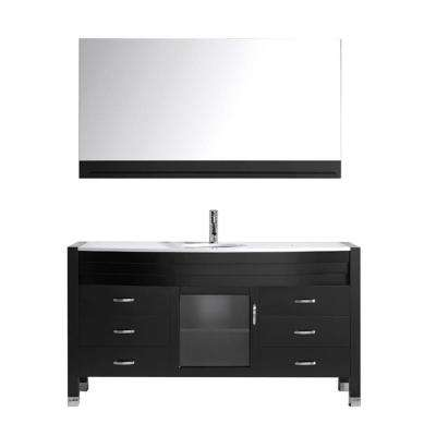 Ava 62 in. W Bath Vanity in Espresso with Stone Vanity Top in White with Round Basin and Mirror and Faucet