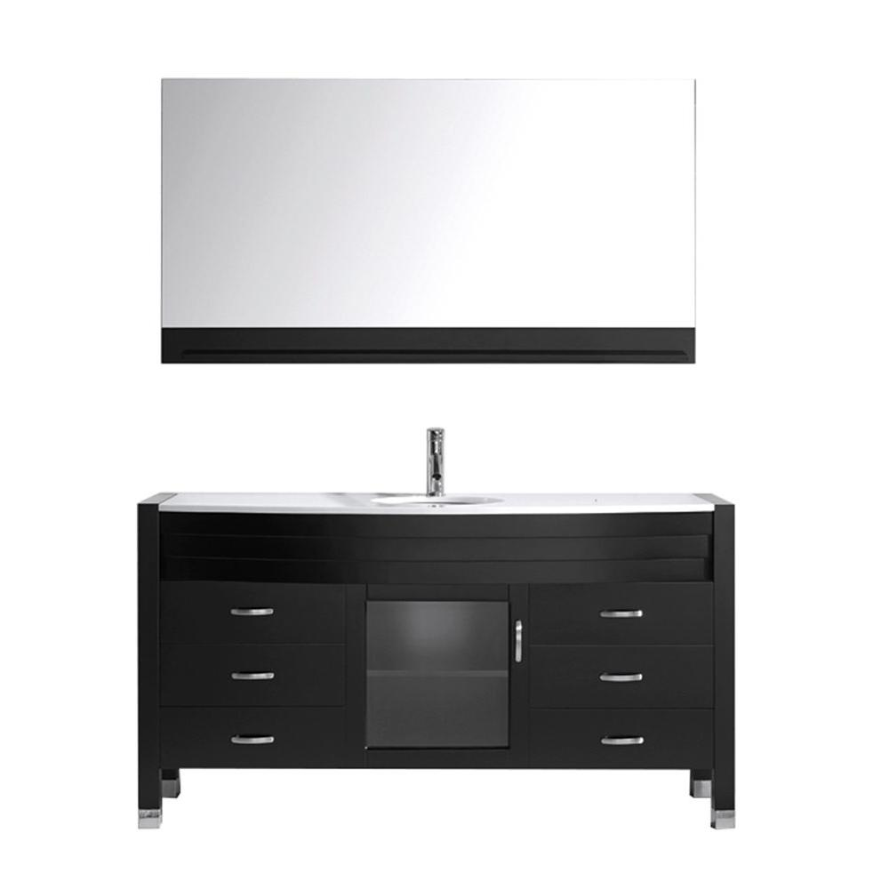 Virtu USA Ava 61 in. W x 21.8 in. D Vanity in Espresso with Stone Vanity Top in White with White Basin and Mirror