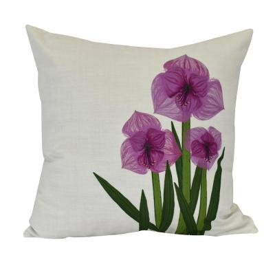 Amaryllis Purple Floral 20 in. x 20 in. Throw Pillow