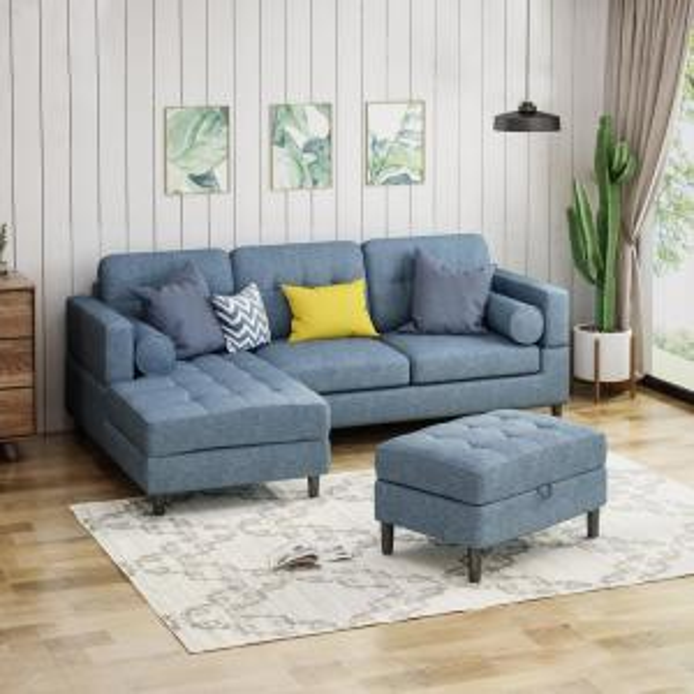 Pleasant Noble House Florentia 3 Piece Navy Blue Tweed Sectional Sofa Machost Co Dining Chair Design Ideas Machostcouk