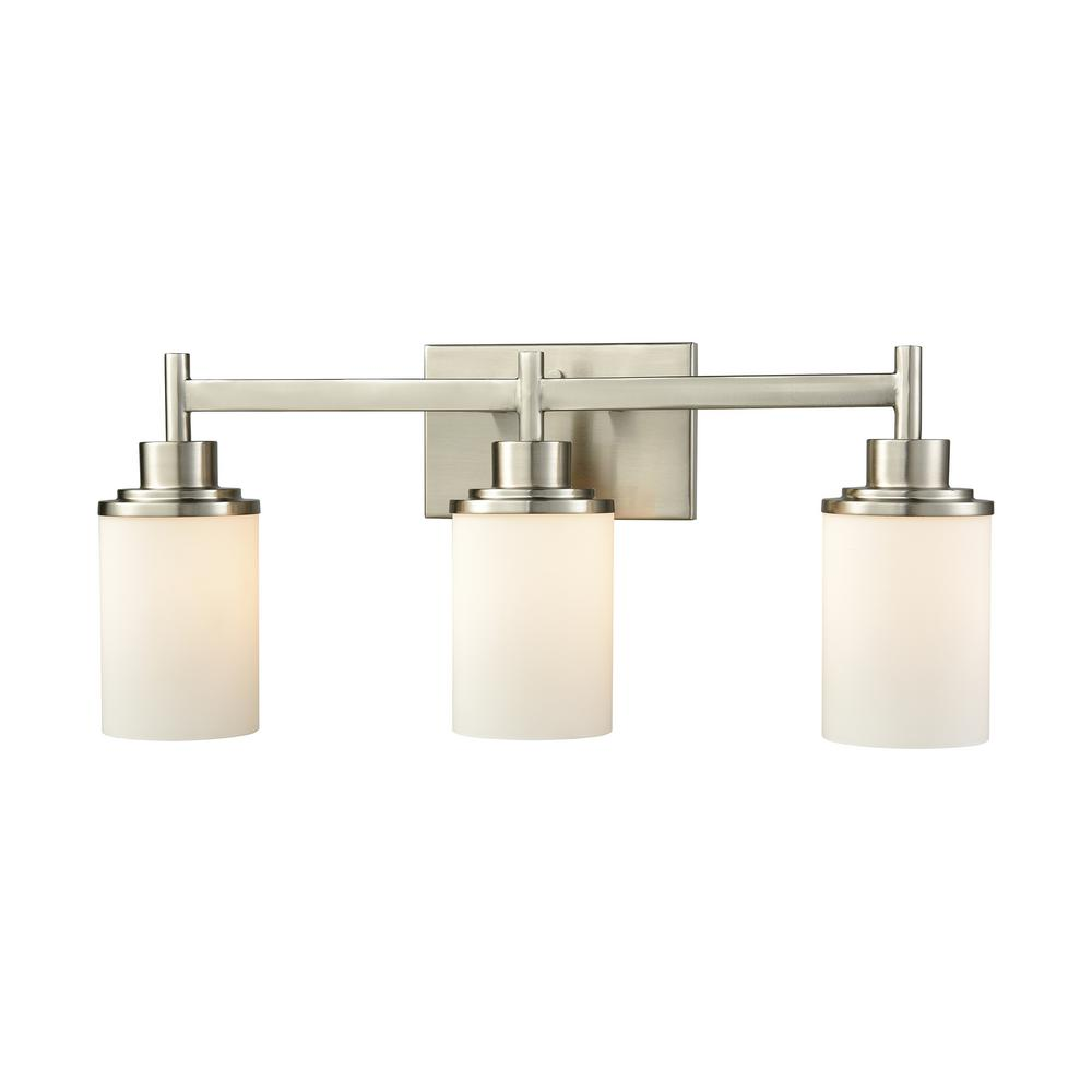 Belmar 3-Light Brushed Nickel With Opal White Glass Bath Light