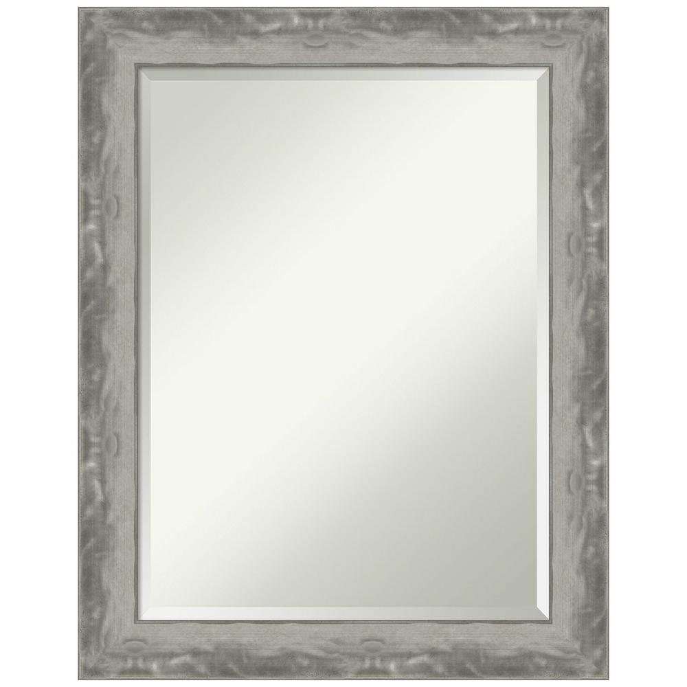 Waveline Silver Narrow 22.38 in. x 28.38 in. Bathroom Vanity Mirror