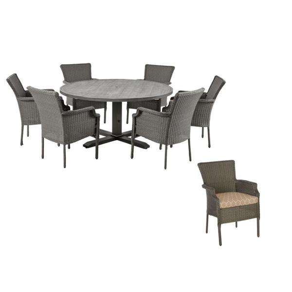 Grayson 7-Piece Ash Gray Wicker Outdoor Patio Dining Set with CushionGuard Toffee Trellis Tan Cushions