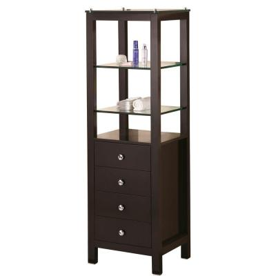 London 18 in. W x 60 in. H x 18 in. D Bathroom Linen Storage Cabinet in Espresso