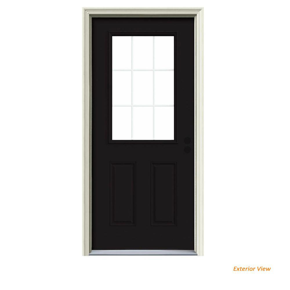 36 in. x 80 in. 9 Lite Black Painted Steel Prehung Left-Hand Inswing Front Door w/Brickmould