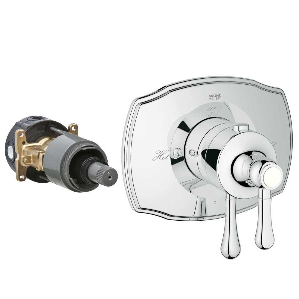 GROHE Authentic 2-Handle GrohFlex Universal Rough-In Box Single Function Thermostatic Kit in Chrome