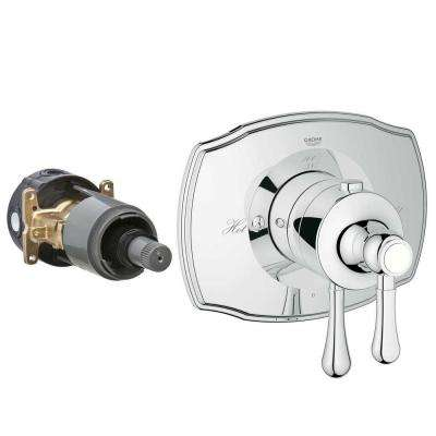 Authentic 2-Handle GrohFlex Universal Rough-In Box Single Function Thermostatic Kit in Chrome