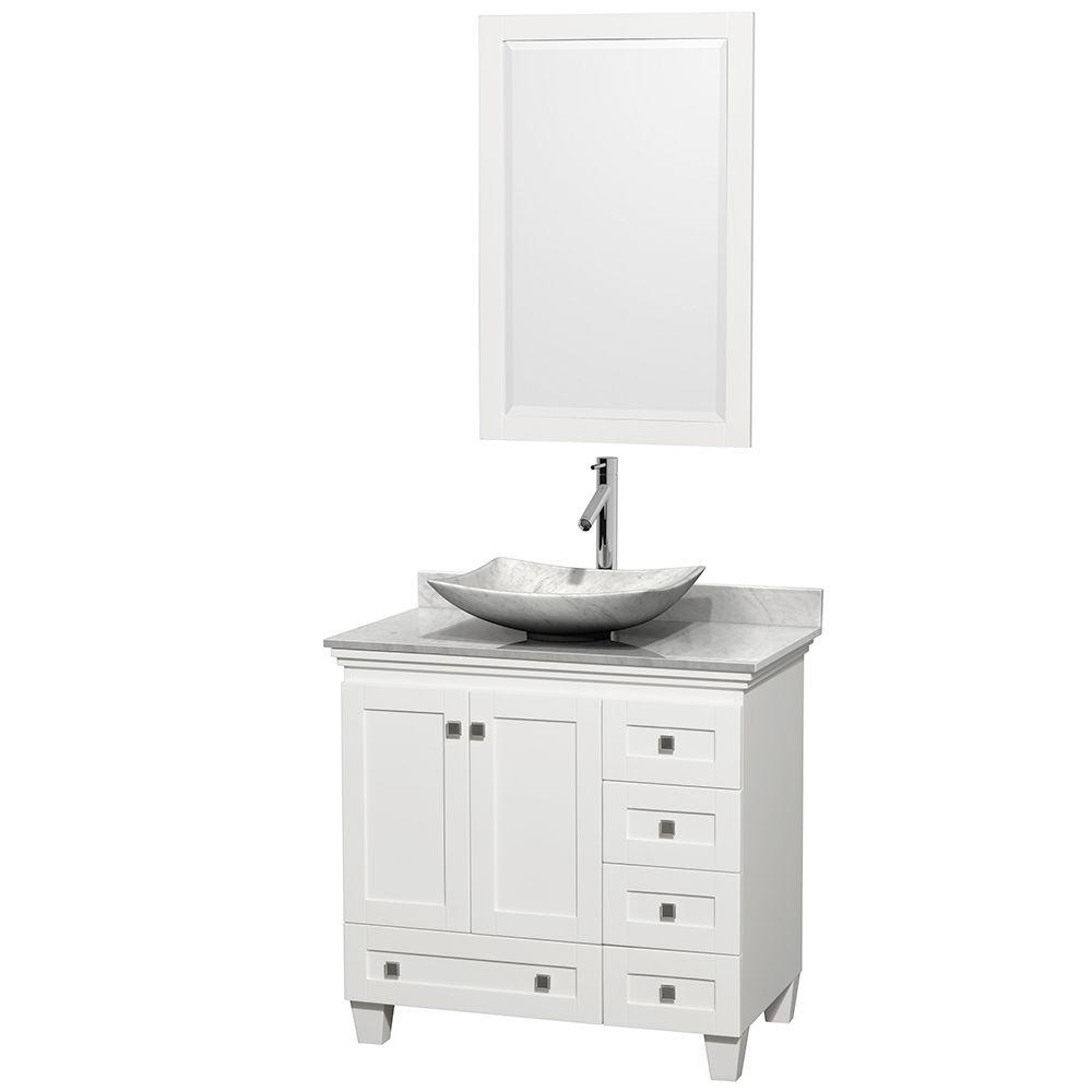 Wyndham Collection Acclaim 36 In W Vanity White With Marble Top Carrara