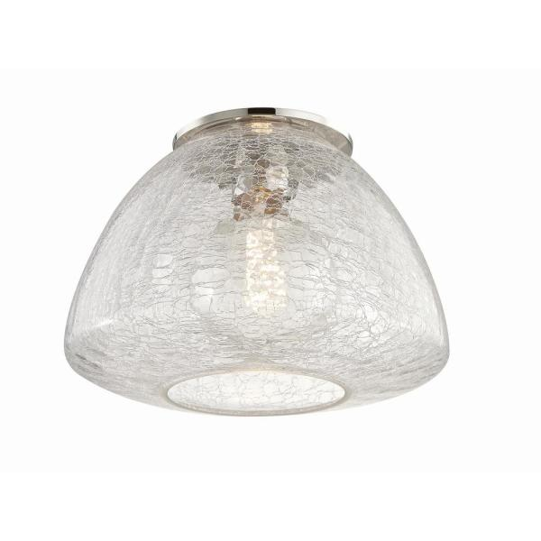 Maya 1-Light 12 in. W Polished Nickel Flush Mount with Clear Crackle Glass Shade