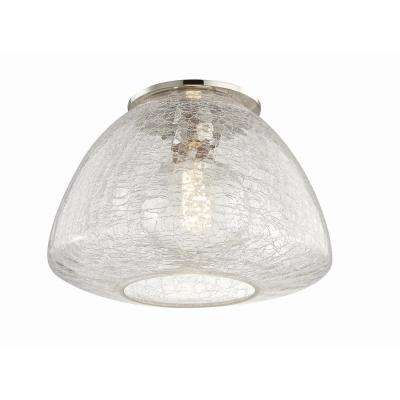 Maya 1-Light 12 in. W Polished Nickel Flushmount with Clear Crackle Glass Shade