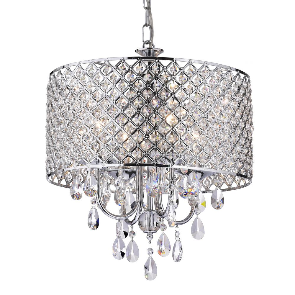 Edvivi Marya 4-Light Chrome Round Chandelier With Beaded