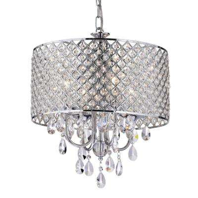 Marya 4-Light Chrome Round Chandelier with Beaded Drum/Hanging Clear Crystal Glass Teardrops