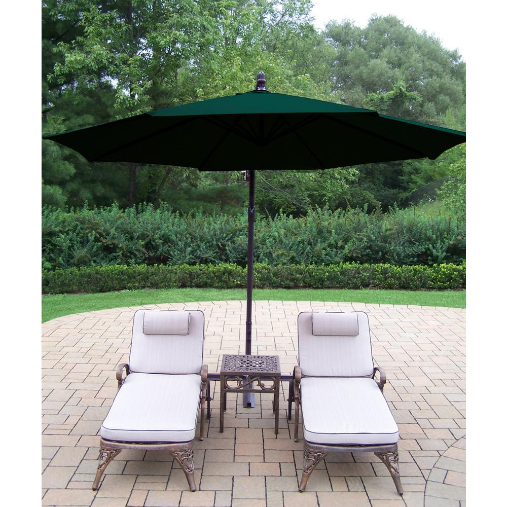4-Piece Aluminum Outdoor Chaise Lounge Set with Tan Cushions and Green