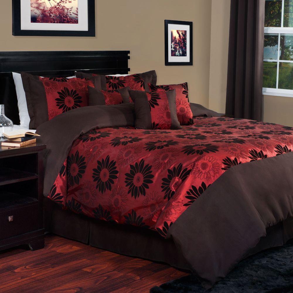 Kiera 7-Piece Red King Comforter Set