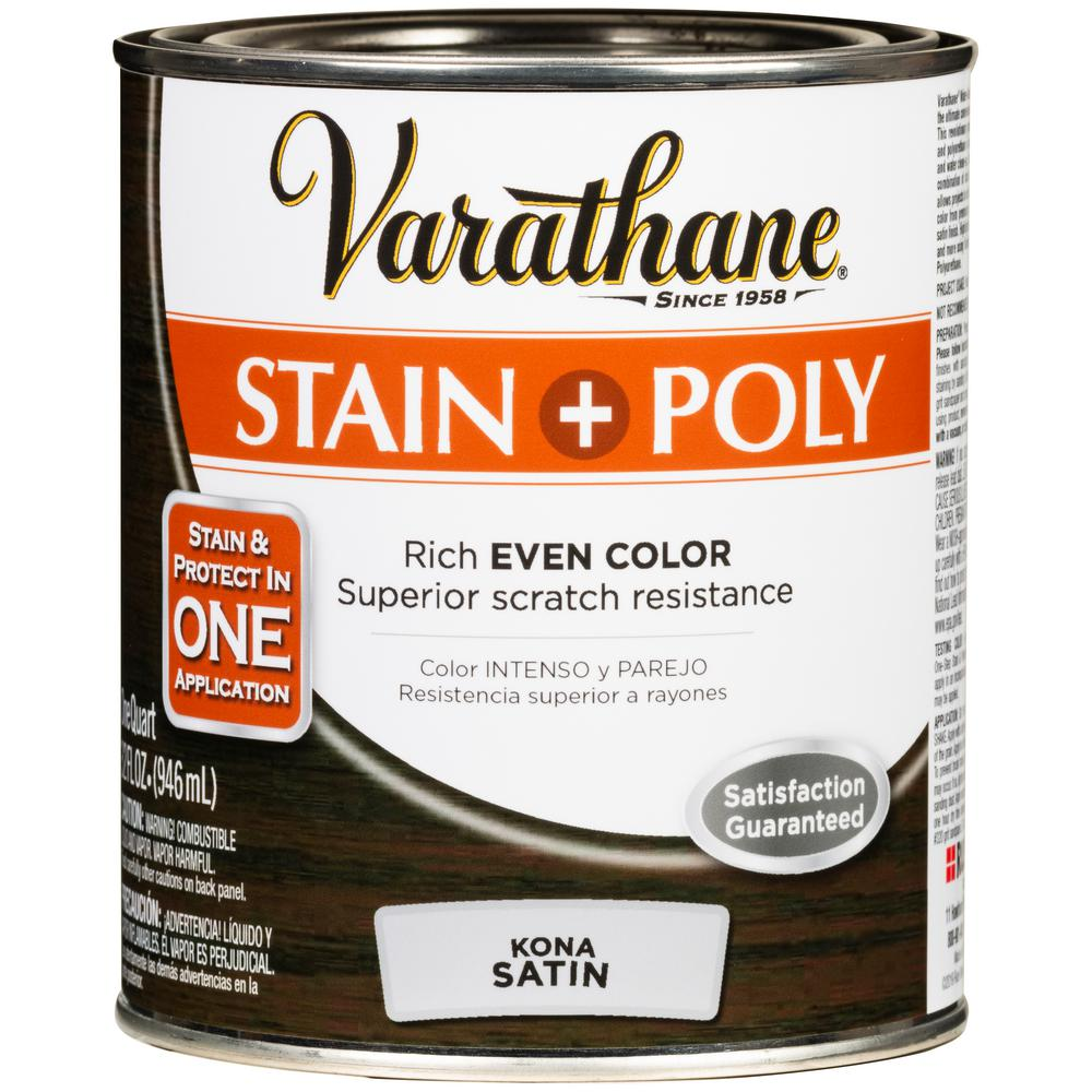 Varathane 1 qt. Kona Satin Water-Based Interior Stain and Polyurethane