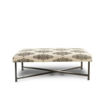 Floral Patterned Cream / Brown Durable Indoor Bench