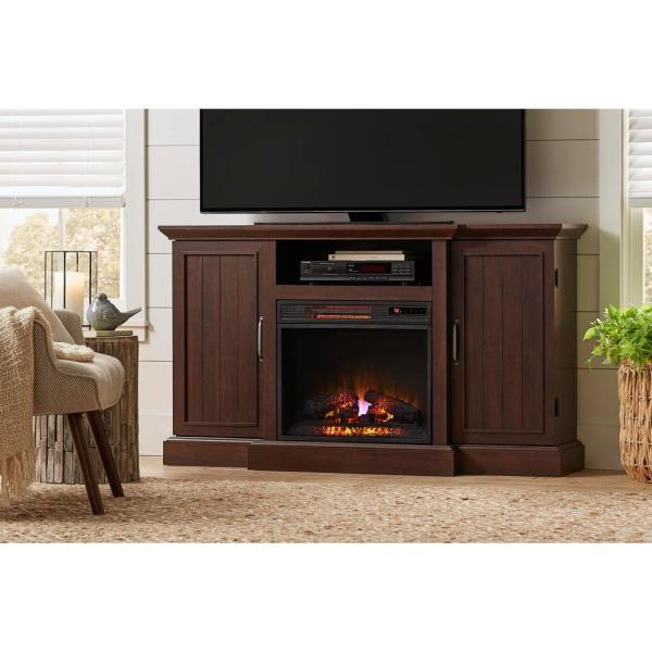 Home Decorators Collection Mattingly 60 In Freestanding Media Console Electric Fireplace Tv Stand In Midnight Cherry 112272 The Home Depot