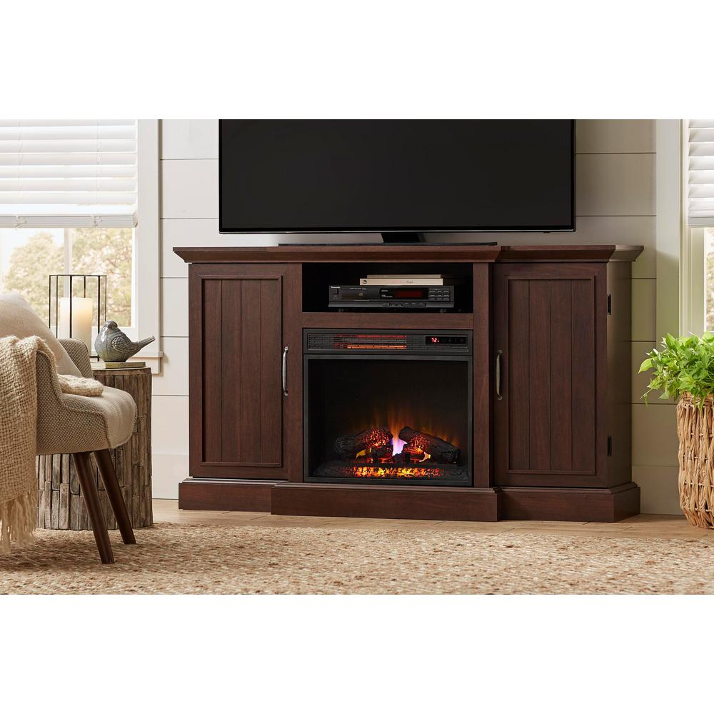 Mattingly 60 in. Freestanding Media Console Electric Fireplace TV Stand in