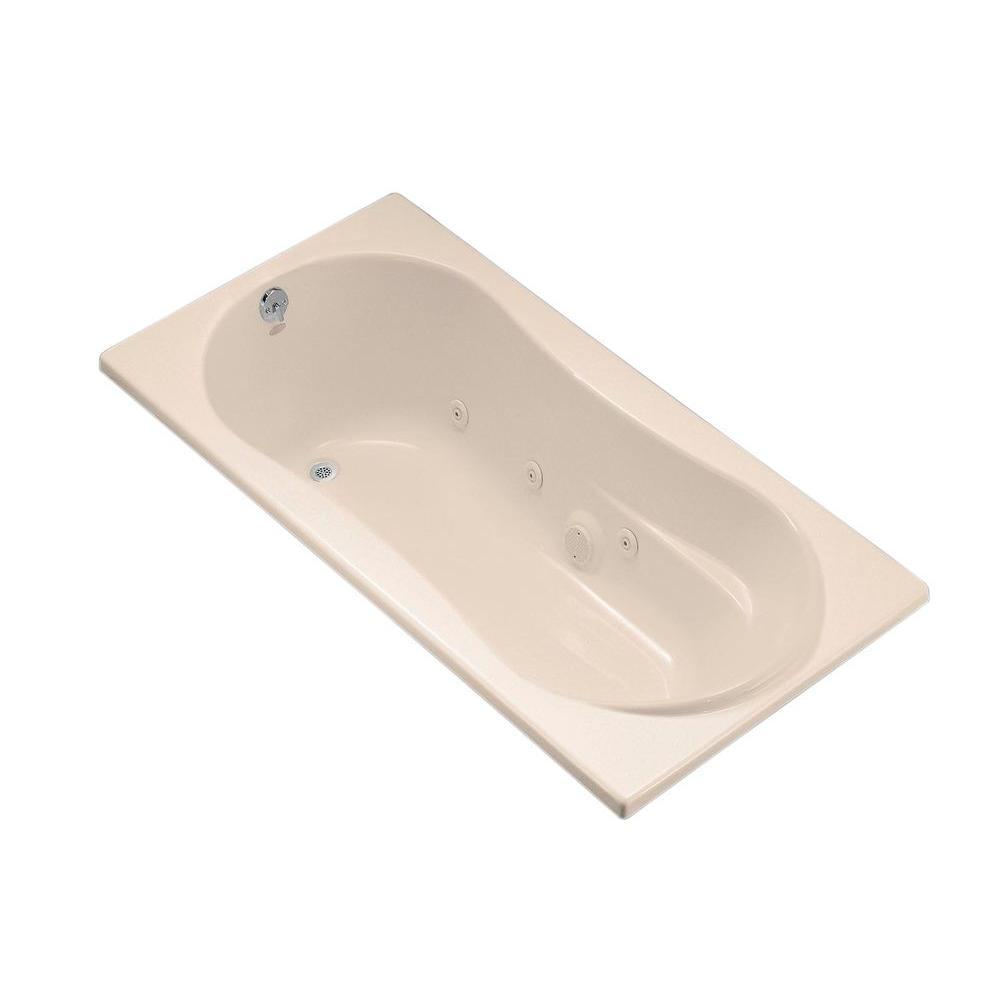 KOHLER ProFlex 6 ft. Whirlpool Tub with Reversible Drain in Almond-K ...