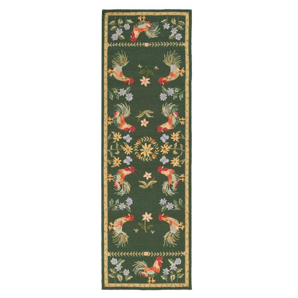 Home Decorators Collection Spring On The Farm Hunter Green 2 ft. 6 in. x 8 ft. Rug Runner