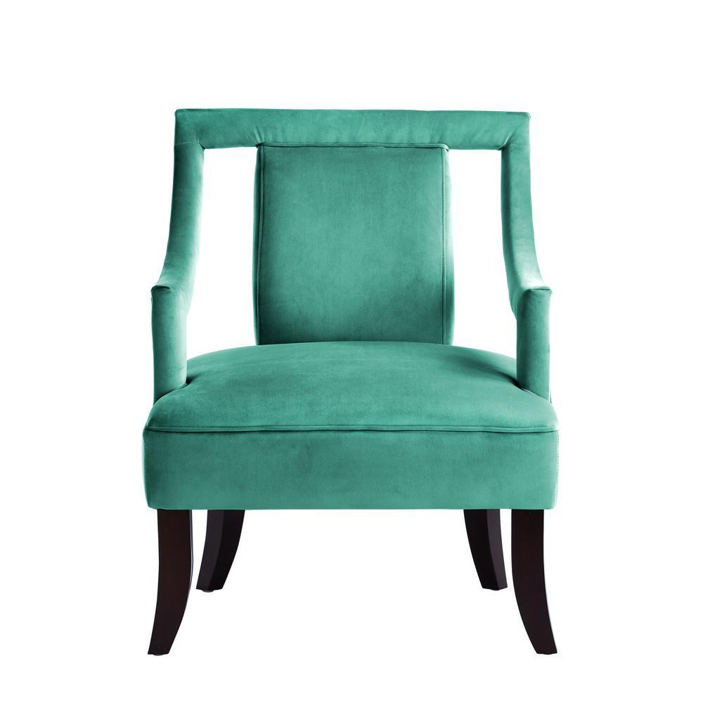 Felicity Slate Blue Velvet Swoop Arm Slipper Chair with Open Sides