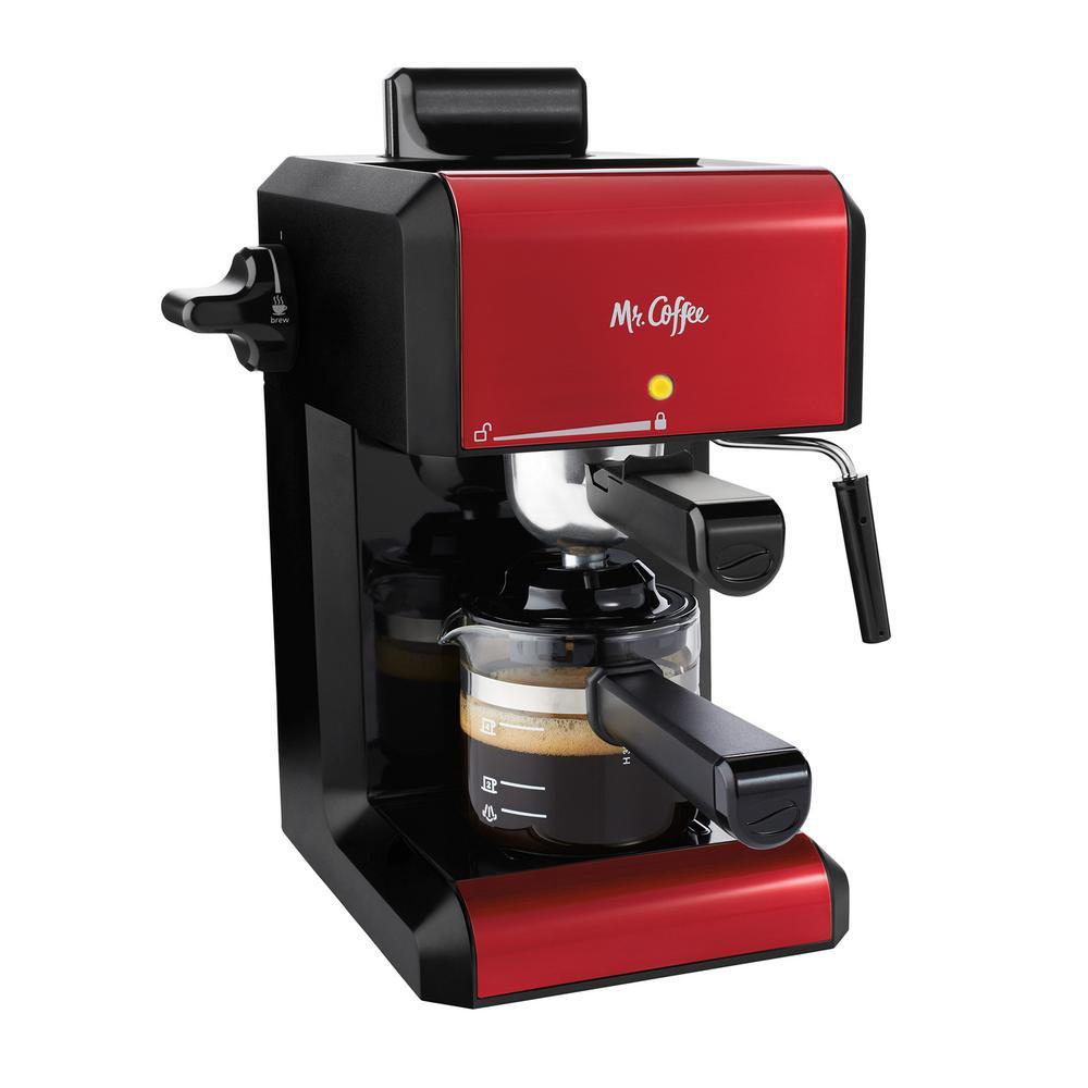 2.5-Cup Red Steam Automatic Espresso and Cappuccino Maker
