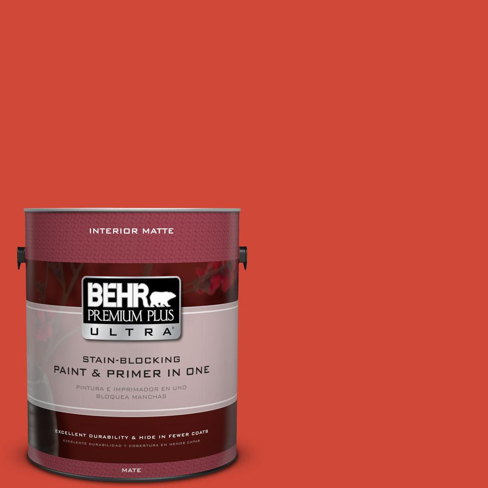 1 gal. #P180-7 Top Tomato Matte Interior Paint and Primer in