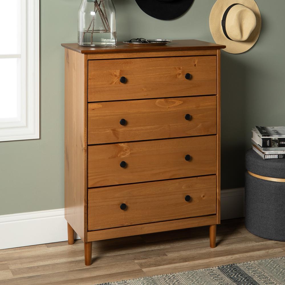 Classic Mid Century Modern 4-Drawer Caramel Solid Wood Dresser