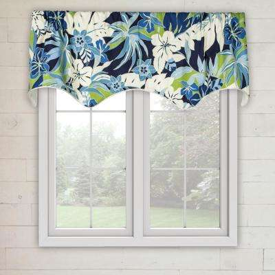 Tropical Garden 16 in. L Cotton Lined Scallop Valance in Blue