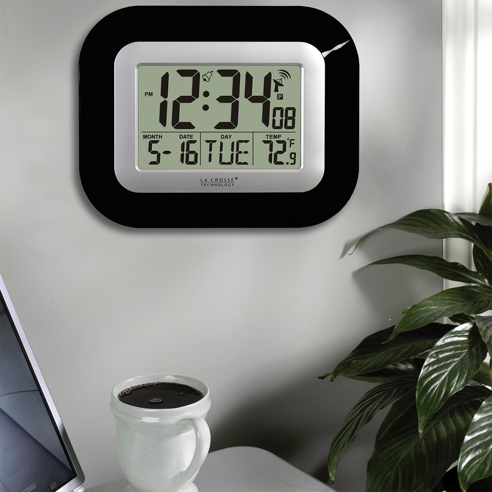 7 in. H Digital Atomic Black Wall Clock with Indoor Temperature