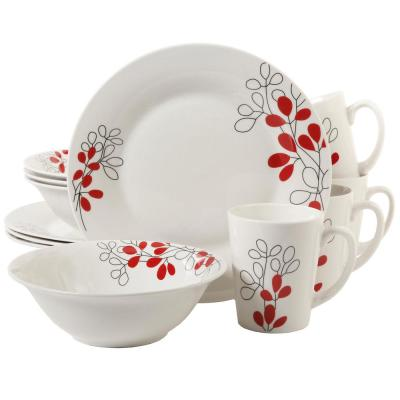 Scarlet Leaves 12-Piece Mid-century White with Red Ceramic Dinnerware Set (Service for 4)