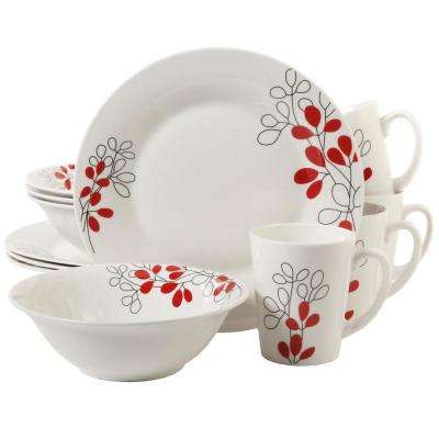 Scarlet Leaves 12-Piece White with Red Decorated Dinnerware Set