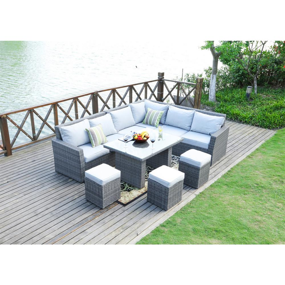 Lima Variegated Grey 8-Piece Wicker Outdoor Sectional Set with Grey Cushions
