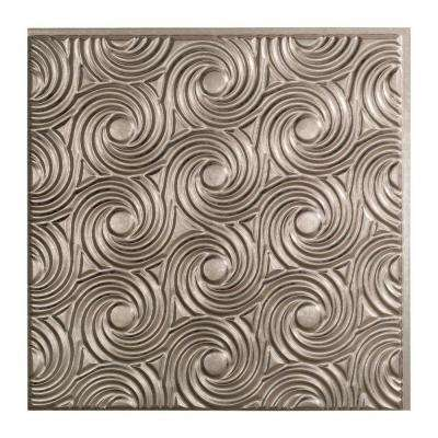 Cyclone - 2 ft. x 2 ft. Glue-up Ceiling Tile in Galvanized Steel