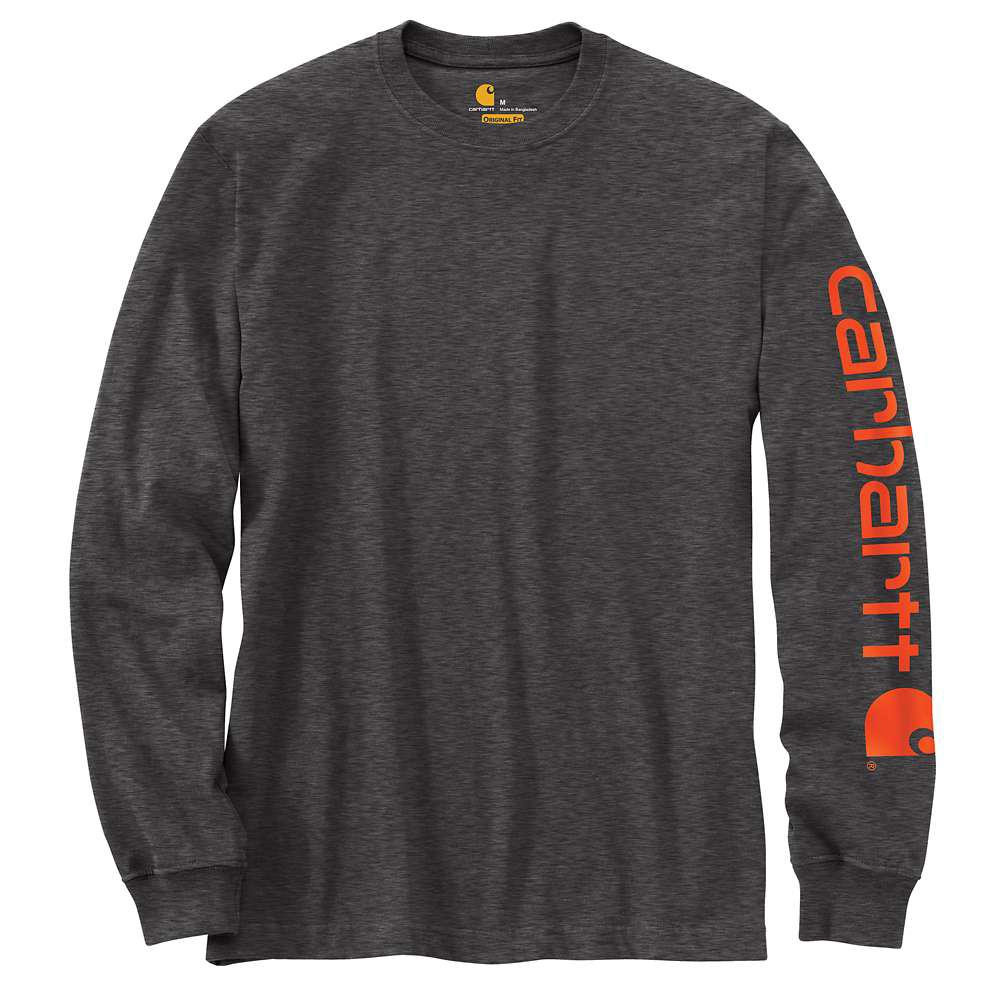 Men's Tall Large Carbon Heather Cotton/Polyester Long-Sleeve T-Shirt