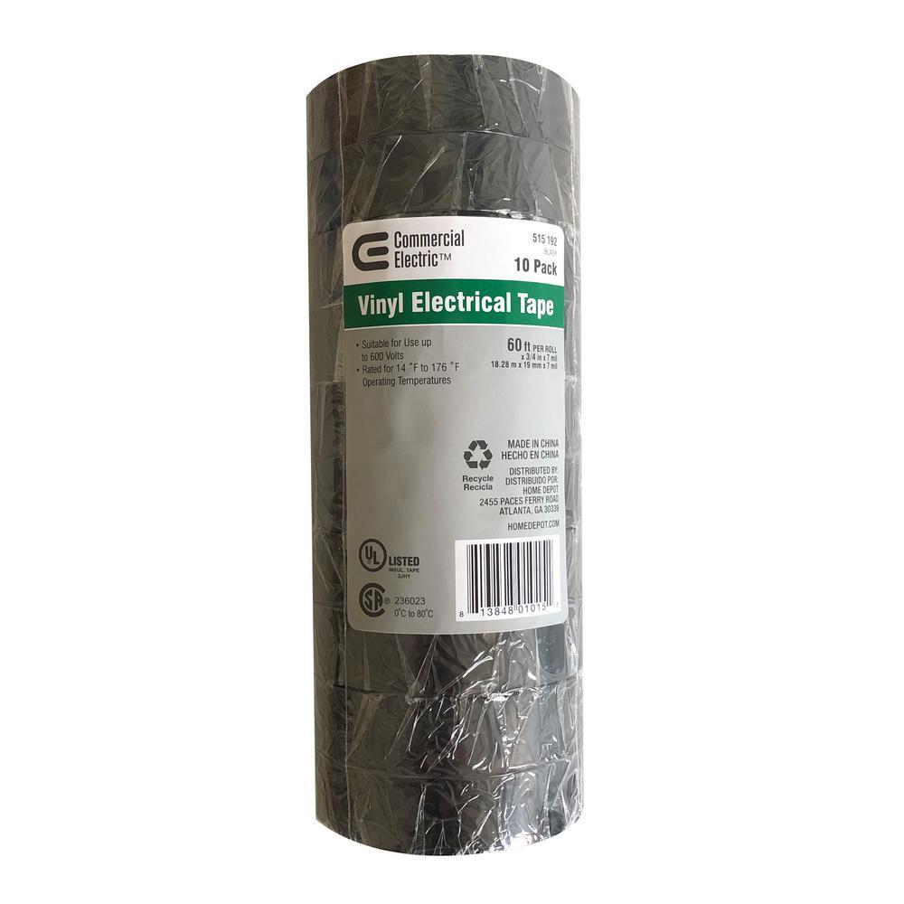 7 mil Vinyl Electrical Tape - Black (10-Pack)