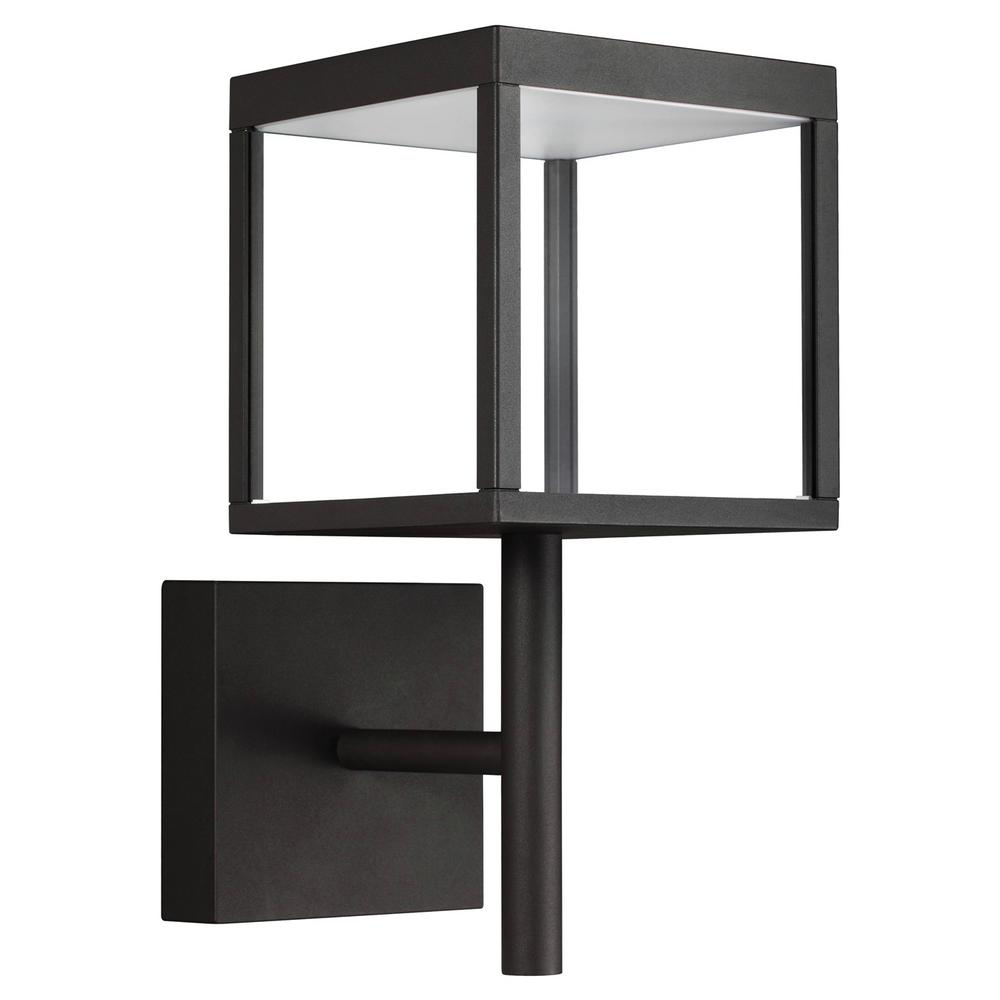 Access Lighting Reveal Medium Square 1 Light Black Led Outdoor Wall Mount Sconce With Clear Gl Diffuser