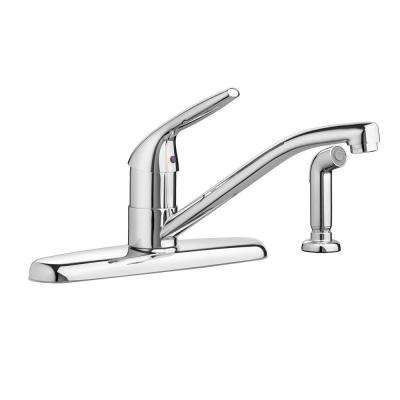 Colony Choice Single-Handle Standard Kitchen Faucet with Side Sprayer in Polished Chrome