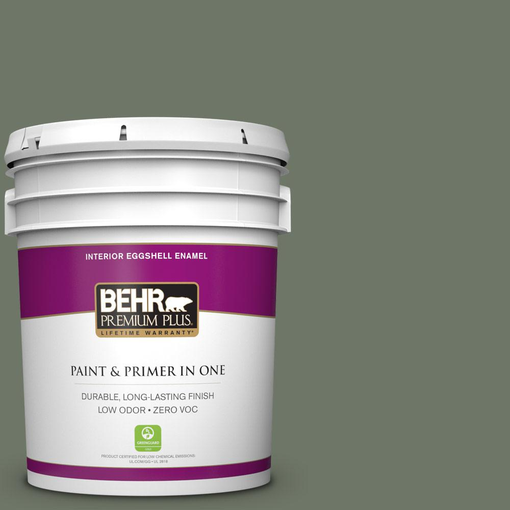 5 gal. #PPU10-19 Conifer Green Zero VOC Eggshell Enamel Interior Paint