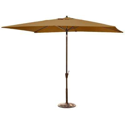 Adriatic 6.5 ft. x 10 ft. Rectangular Market Auto-Tilt Patio Umbrella in Stone Sunbrella Acrylic