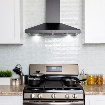 30 in. 217 CFM Convertible Black Painted Stainless Steel Wall Mount Range Hood with LED and Carbon Filters