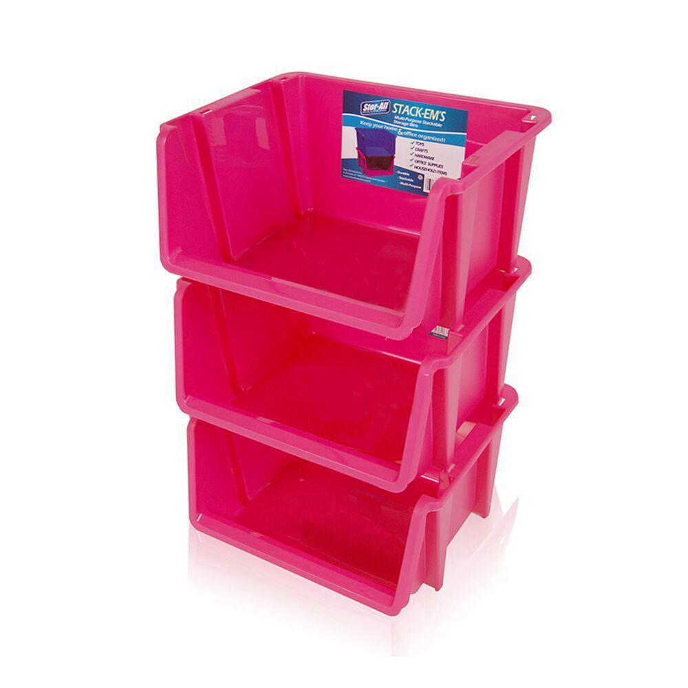 Stackable Storage Bin In Pink (3 Pack)