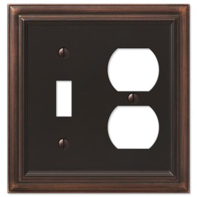 Continental 2 Gang 1-Toggle and 1-Duplex Metal Wall Plate - Aged Bronze